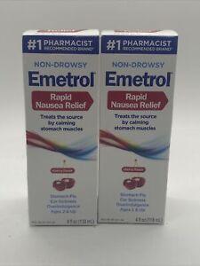 2 EMETROL Rapid Nausea Relief 4oz liquid CHERRY stomach flu car sickness 10/2022