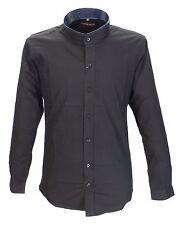 Retro 60s Mod Black Grandad Collar Long Sleeved Vintage/Retro Mod Shirt