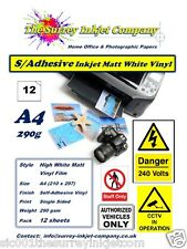A4 MATT WHITE SELF ADHESIVE INKJET STICKER LABEL VINYL WATER RESISTANT 12 SHEETS