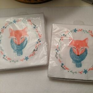 Fox Wreath Cocktail Napkins: Pier 1 Paper Napkins - Two Packs Of 20 - New