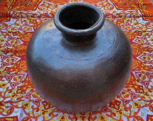 Antique Indian Riveted  Heavy Steel Hand Beaten Lota Pot Garden Planter Indoor