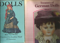 DOLLS by Max von Boehn 1972 Pb + Treasury of GERMAN DOLLS by Richter 1984 Hc 2Bk