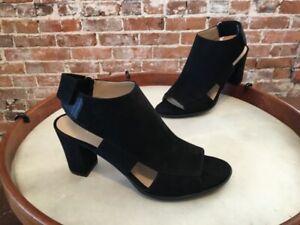 Naturalizer Lucky Black Microfiber Open Toe Block Heel Sandal 9 39 New