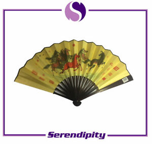 """Chinese Bamboo Folding Hand Fan with Warrior and Horses for Wall Decor 13"""" X 23"""""""
