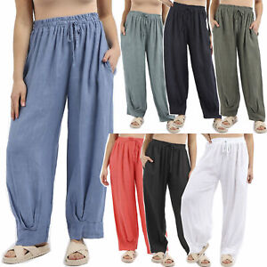 New Womens Italian Lagenlook Plain Relaxed, Ruched and Cuffed Leg Linen Trousers
