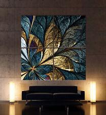 HOJA DE ORO Abstracto Cuadro Lienzo Pared Negro Azul Oro Hojas Lámina mural XXL