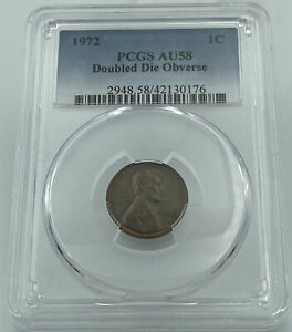 1972 PCGS AU58 Doubled Die Obverse Lincoln Memorial Penny