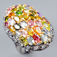 Handmade Natural Tourmaline 925 Sterling Silver Ring Size 8/R120570