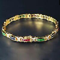 18K Yellow Gold Over Gemstone & Diamond Emerald Sapphire Ruby Tennis Bracelet