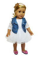 "Doll Clothes 18"" Dress White Jean Vest Headband Fits American Girl Dolls"