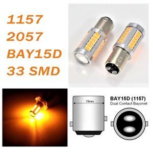 Amber Front Turn Signal 1157 2357 3496 7528 BAY15D 33 LED Bulb A1 For Kia LA