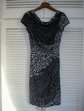 Linea Black & White Spotted Draped Dress Cowl Neck size 10 Polka Dot suit Tall