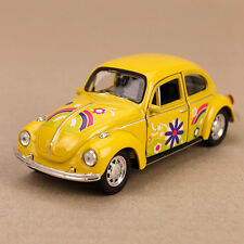 1972 Yellow Flower Volkswagen Beetle VW Bug Classic Die-Cast Model Car 12cm