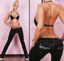 LADIES QUALITY SATIN TROUSERS STRAIGHT LEG PANTS BLACK JEANS SIZE XL / 218
