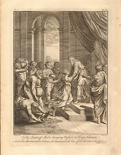 1770  ANTIQUE PRINT -BIBLE- THE QUEEN OF SHEBA BRINGING PRESENTS TO KING SOLOMON
