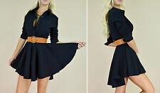 Black FLARED SKIRT Fit  Flare Long Sleeve Peplum Button Up Sexy Shirt Dress M