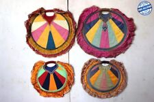 4 Pc Old Vintage Antique Rare Hand Fan with Wooden Handle Collectible BD-8