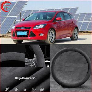 For Ford Focus Black Alcantara Suede Car Steering Wheel Cover Safe Non-Slip
