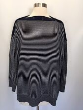 J Crew Oversized boatneck sweater in everyday cashmere S M Blue White  G9641