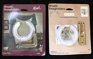 NEW - 2 PAIRS - Kirsch Wreath Swagholders 5455 WHITE Drapery Window Treatment