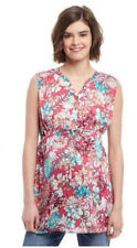 Maternity Sz M Tunic Floral Sleeveless Oh Baby Motherhood Split Neck Summer NWT
