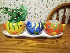 Art Pottery three (3) Tropical Fish Ceramic Pot Planter Set