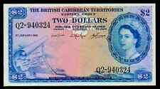 "BRITISH CARIBBEAN TERRITORIES P8c $2 ""MAP NOTE"" 1964 RAW XF! EXTREMELY RARE!"