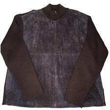 NEW Cezani Leather Wool Cardigan Sweater Zipper Front Brown Size XXL