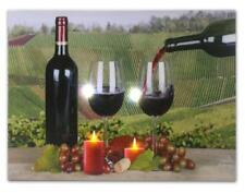Wall Art Canvas LED Light Up Candles Wine Decor Home Office Picture Gift NEW