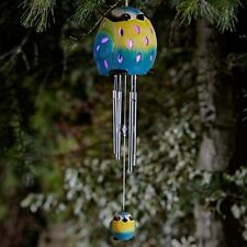 Smart Solar Ceramic BLUE TIT Bird Wind Chimes Colour Changing for Garden or Home
