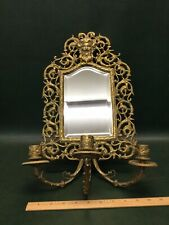 Antique Victorian Brass North Wind Face Beveled Mirror w/ 3 Candle Holders