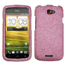 For T-Mobile HTC One S Crystal Diamond BLING Hard Case Snap on Phone Cover Pink