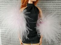 BOA ONLY~MATTEL BARBIE DOLL 2002 PALE PINK FEATHER SHAWL SCARF FASHION ACCESSORY