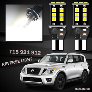2 x Backup Reverse Light 921 T15 LED Bulb For 2005 - 2015 Nissan Armada White