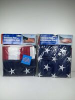 """2 American Flag 5 Ft Woven Fabric w/ Embroidered Stars & Metal Grommets 60""""x36"""""""
