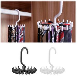 2 Pack Rotating Tie Rack Hanger Closet Organizer Belt Tie 20 Hook Holder Plastic