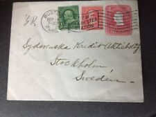 USA Cover Boston MASS to Stockholm Sweden Sept.14.1904 Stationary Cover