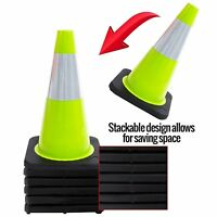 Set of 6 Black Base RK Industries Group Inc. 18 Lime RK Safety Traffic PVC Cones with 6 Reflective Collar