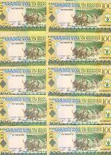 Lot Rwanda, 10 x 100 Francs, 2003, Pick 29 (29b) Unc