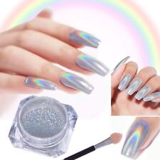 1g UNICORN NAIL CHROME GLITTER POWDER SILVER HOLOGRAPHIC EFFECT PIGMENT UK TCL12