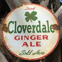 VINTAGE CLOVERDALE GINGERALE PORCELAIN METAL SIGN GAS IRISH SODA POP LUCK CLOVER