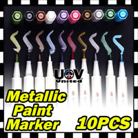 10 Colors Lot Assorted Metallic Paint Markers Pens Sheen Glitter Calligraphy Art