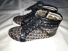 Michael Kors Toddler Girls Paige-T Shoes Black And Tan Print Size 3 Ecu.