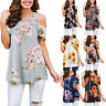 Womens Summer Tunic Tops Short Sleeve Blouse Floral Boho Cold Shoulder T Shirt