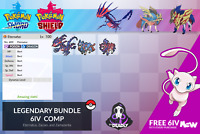 Eternatus, Zacian, Zamazenta, and FREE Mew 6IV Comp for Pokemon Sword & Shield