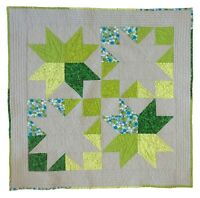 Handmade, Green and Gray, Star Baby Quilt