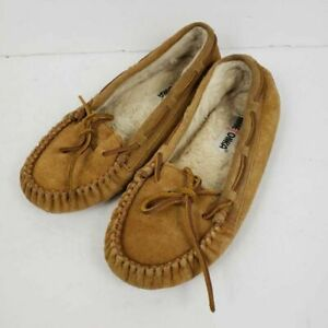 Minnetonka Womens Cally Moccasin Slippers Brown Faux Fur Leather sherpa sz 8