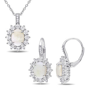 Amour Sterling Silver Opal White Topaz & Diamond Halo Necklace and Earrings Set