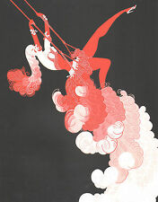 """CLASSIC ERTE' ART DECO BOOK PLATE PRINT """"THE TRAPEZE""""  COSTUME AT THE CIRCUS"""