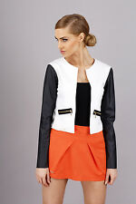 Women's Biker Jacket With Pockets Eco Leather Long Sleeve Sizes 8-14 FA288